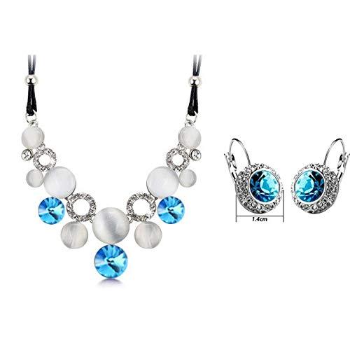 (Wedding's Female Austrian Charm Crystal Fine Jewerly Sets | for Women | Circular Opal Jewelry Sets)