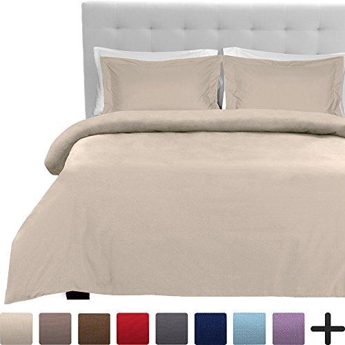 Reversible Single Duvet - Luxury 2 Piece Duvet Cover and Sham Set - Premium 1800 Ultra-Soft Brushed Microfiber - Hypoallergenic, Easy Care, Wrinkle Resistant (Twin/Twin XL, Sand)