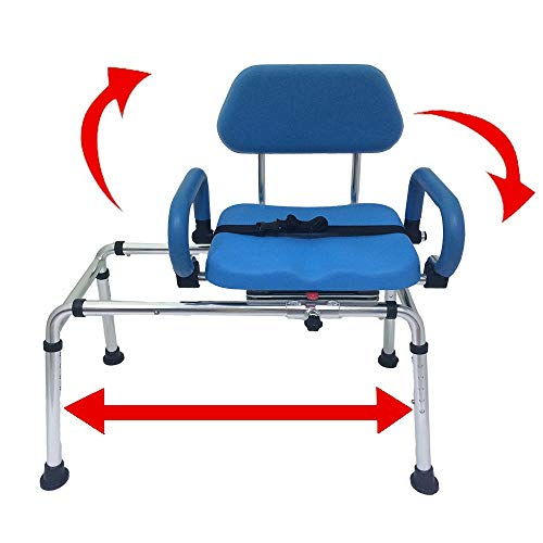 (Carousel Sliding Transfer Bench with Swivel Seat. Premium PADDED Bath and Shower Chair with Pivoting Arms. Space Saving Design for Tubs and Shower.)