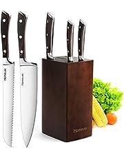 Homever Couteau de Cuisines, 6 Pièces Set Couteaux Cuisine with Bloc en Bois, Set de Couteaux Professionnels, Lot de Couteaux en Acier Inoxydable à Haute Teneur avec Support en Bois