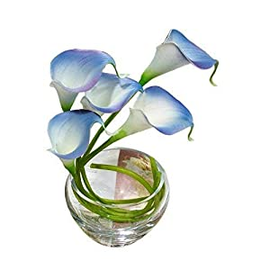 Calcifer 20Pcs Real Touch Calla Lily Bridal Latex Wedding Bouquet Flower Bouquets (White&Blue) 108