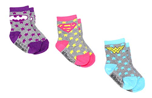 DC Comics Baby Girls 3 Pack Athletic Slipper Socks With Rubber Grip Bottoms, Grey, 12-24M