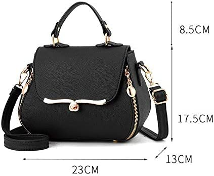 FDFRGG Nouveau Sweet Ladies Handbag Ladies Fashion Sac Élégant Couleur Unie Correspondant Couleur Messenger Sacs Haute Qualité Sac À Bandoulière Top Vente Black