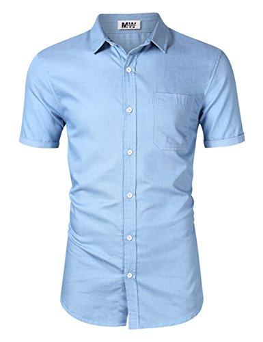 MrWonder Men's Casual Slim Fit Long Sleeve Button Down Dress Shirts Denim Shirt (XL, Sky Blue)