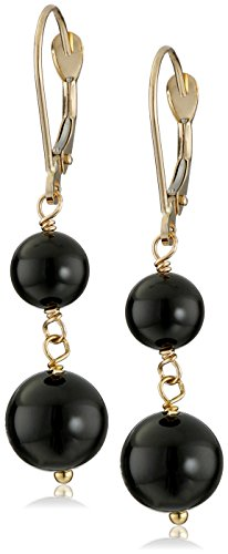 Onyx Drop Earrings 14k (14k Yellow Gold Black Onyx Drop Earrings)