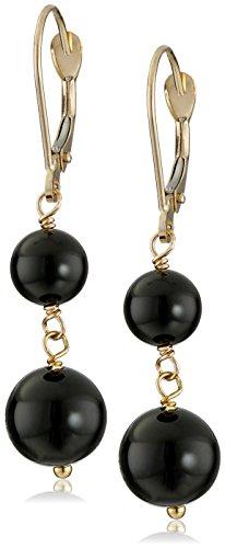 - 14k Yellow Gold Black Onyx Drop Earrings