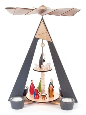 Pyramid grey with Nativity scene colored, 2-floor, for tea light BxHxT 270 x 380 x 220mm AGAIN Ore Mountains Folk art Ore mountain craftsmanship table pyramid Christmas pyramid by Rudolphs Schatzkiste