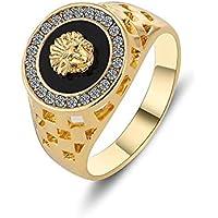 LION Gold Color Men's Wedding Engagement Ring Zircon Sphinx Lion Ring M90