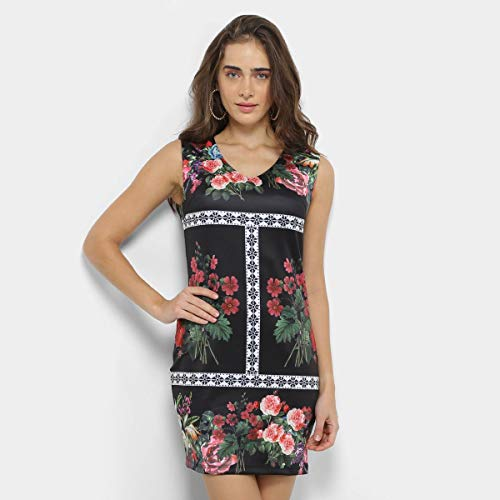 Vestido Lemise Tubinho Curto Floral - Preto - P