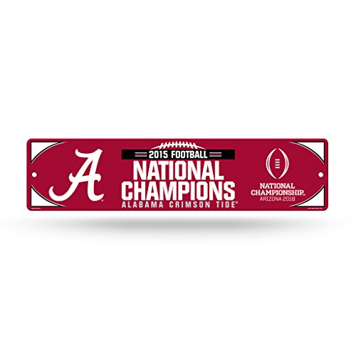 NCAA Alabama Crimson Tide 2015 CFP Champ High-Res Plastic Street Sign,4-Inch by 16-Inch,Red ()