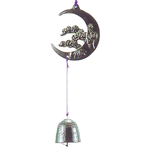 Nambu Tetsuki Cast Iron Green Tanzaku Bell Wind Chimes Crescent Moon
