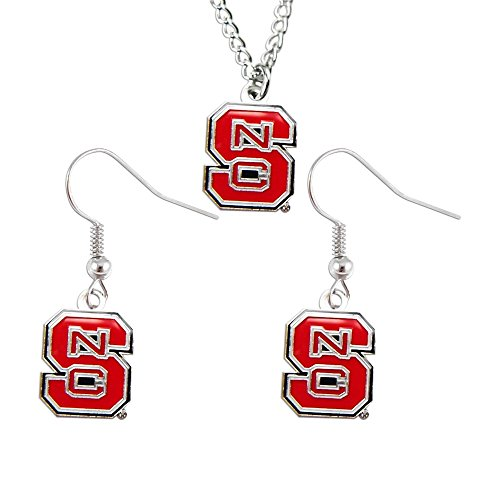 - Rick NCAA North Carolina State Wolfpack Team Logo Necklace and Dangle Earings Charm Set