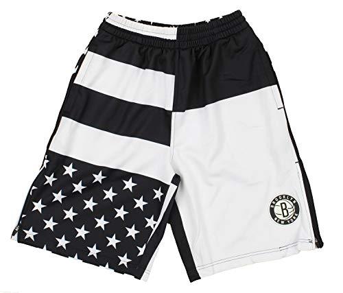 Zipway Brooklyn Nets NBA Mens Flag Athletic Shorts, White/Black ()