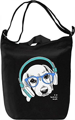 Dog With Headphones Borsa Giornaliera Canvas Canvas Day Bag  100% Premium Cotton Canvas  DTG Printing 
