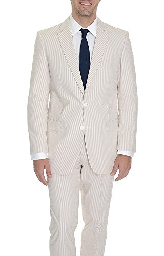 Emigre 42R Tan Striped Two Button Cotton Seersucker Suit