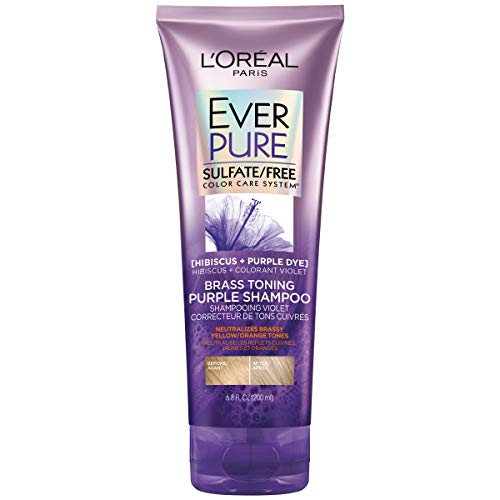 - L'Oreal Paris Hair Care EverPure Sulfate Free Brass Toning Purple Shampoo for Blonde, Bleached, Silver, or Brown Highlighted Hair, 6.8 Fl Oz.