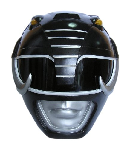 Wearable Black Mighty Morphin Power Rangers Cosplay Helmet Scale 1:1 (Power Rangers Helmet)
