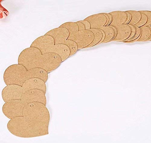 NeDonald 100 Brown Kraft Paper Gift Tags Wedding Scallop Label Blank Luggage Tags
