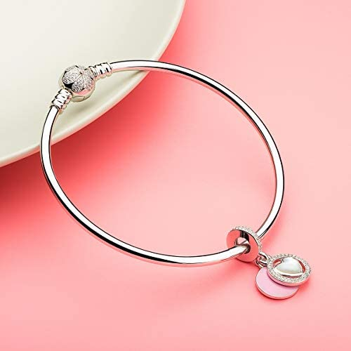 ATHENAIE 925 Sterling Silver Pink Enamel and Clear CZ Devoted Heart Dangle Charms Gift for Girlfriend