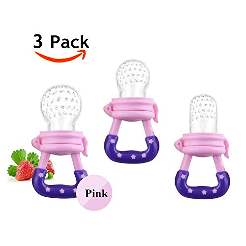 3 Pack Baby Food Feeder Fruit Food Silicone Nipple Teething Toy Reusable Aching Gums Pacifier,Pink from Jallysia