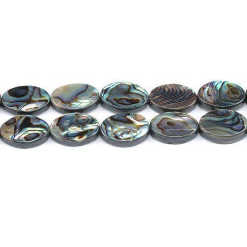 Oval Paua Shell (Pack Of 4 x Rainbow Abalone Paua Shell 13 x 18mm Flat Oval Beads - (GS1333-5) - Charming Beads)