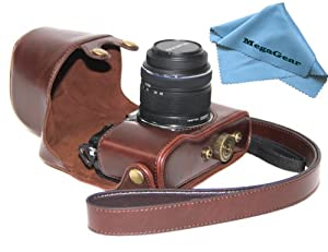 "MegaGear ""Ever Ready"" Protective Dark Brown Leather Camera Case, Bag for Olympus PEN E-P5 + 17mm + 14-42mm II R EP5 camera"