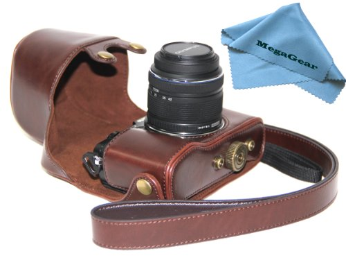 MegaGear Ever Ready Protective Dark Brown Leather Camera Case, Bag for Olympus Pen E-P5 + 17mm + 14-42mm II R EP5 Camera - Olympus Protective Case
