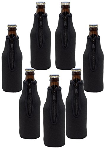 Neoprene Bottle Sleeves | Pack of 7 Black Plain Beer Bottle Cooler Covers Fit 12 oz Bottles by Impirilux (7, Black)