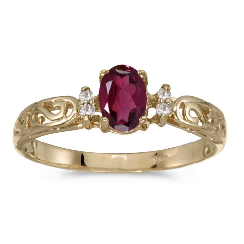 Jewels By Lux 14k Yellow Gold Oval Rhodolite Garnet And Diamond Filagree Ring Size 7