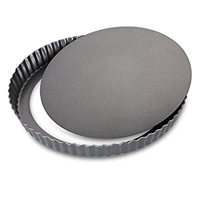 Finether Nonstick Round Tart Quiche Pan Cake Flan Pie Pan with Removable Base, FDA Standard, Dark Grey