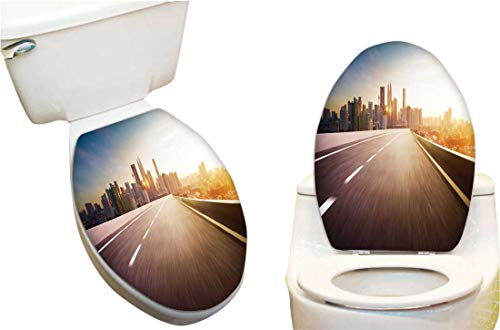 Vinyl Toilet Set Cover Paper Decor for Highway Overpass Motion Blur City Skyline backgroun Sunset Scene Fashion Toilet Seat Sticker Vinyl Art15 x17 ()