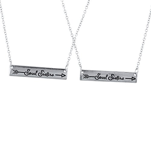 Lux Accessories Silver Tone Soul Sisters Etched Arrow Bar Pendant Necklace Set 2PC