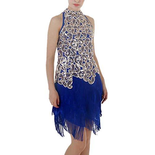 VEZAD Women Latin Dance Skirt Sleeveless Sequins Cashew Dance Performance Dress