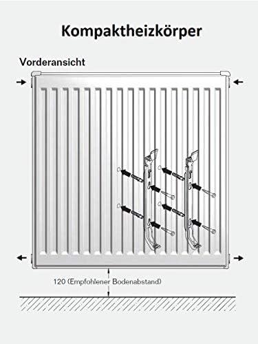 Buderus Kompaktheizk/örper Typ 22 H/öhe 300 x L/änge 1000 mit Halter und Stopfen