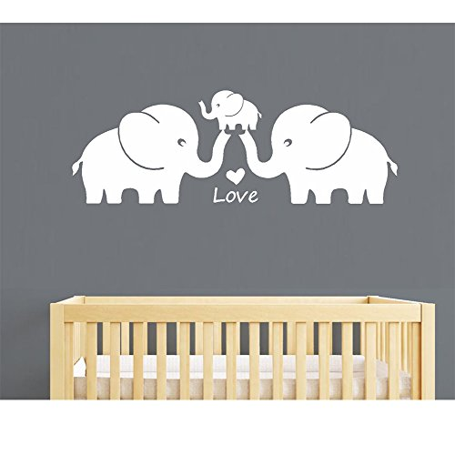 """AIYANG Three Cute Elephants Family Wall Decal Love Hearts Family Words Baby Elephant Vinyl Wall Decal Sticker for Baby Nursery Room Decor (Large 48""""x16"""" inch, White) from AIYANG"""