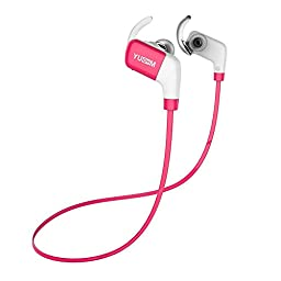 Sports Headphones,TechCode in-Ear Earphones New Bluetooth Wireless V4.1 Earbuds Running Gym Exercise Sweatproof Headset for all Android Phones and all iphones (A02-Pink)