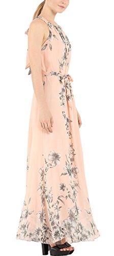 Frauen Kleid Maxikleid Druckkleider Freizeitkleider Oversize Ärmellos Rundkragen Rückenfrei Trägerlos Blumendrucken Neckholder
