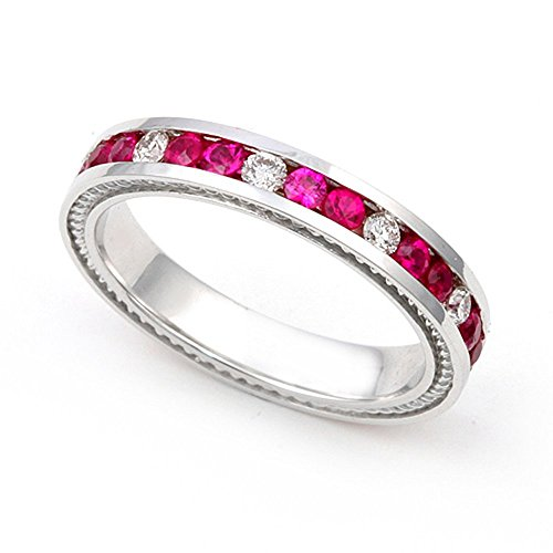 (14k White Gold Channel set Diamond and Ruby Wedding Band Ring (G-H/SI, 1/3 ct.),)