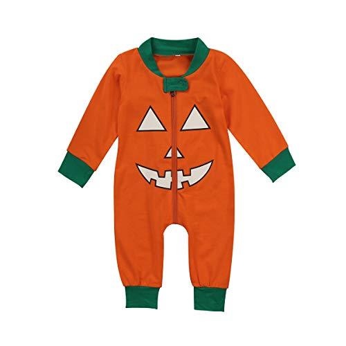 Newborn Baby Brother Sister Matching Outfit Halloween Pumpkin Smile Face Pajamas Jumpsuit Romper & Kids Boys Girls T-Shirt Long Pants Set (Litte one, 0-6M)