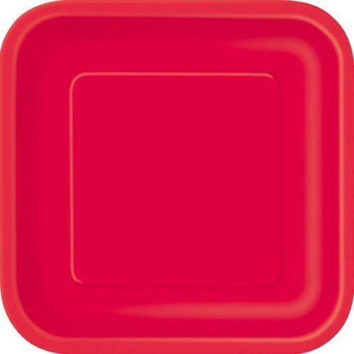 14 x Ruby Red SQUARE Paper Plates ...  sc 1 st  Amazon UK & 14 x Ruby Red SQUARE Paper Plates (9