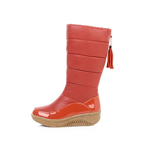 Kitten Closed Pull Mid Material top Allhqfashion Soft Toe Heels on Women's Orange Round Boots wHW0nAq4