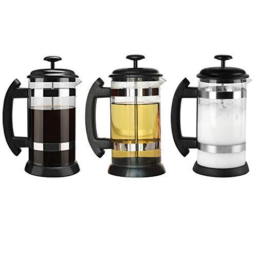 i Cafilas French Press ,Cafetera de Cristal con Filtro a presión, Sistema French Press, para café Tetera cafetera, 8…