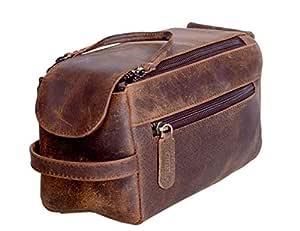 KOMALC Genuine Buffalo Leather Unisex Toiletry Bag Travel Dopp Kit (Distressed Tan)
