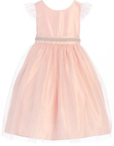 - Big Girls' Mesh Flutter Sleeve Rhinestone Easter Flowers Girls Dresses Pink 12
