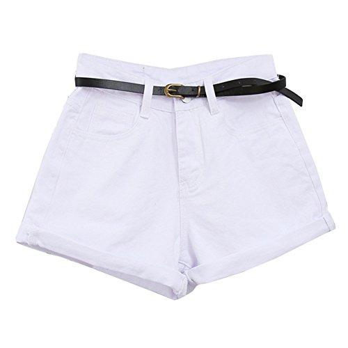 Alta Denim Donna Di Corti Bianco Pantaloni Pantaloncini Shorts Vita Guiran Jeans gZ0IRnIq