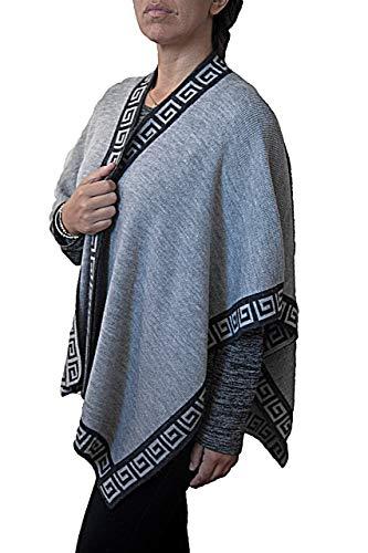 TINKUY PERU - Peruvian Alpaca Wool - Women´s Reversible Inca Dark Grey Geometric Design - Pashmina Cape Poncho Ruana (Heather Grey)