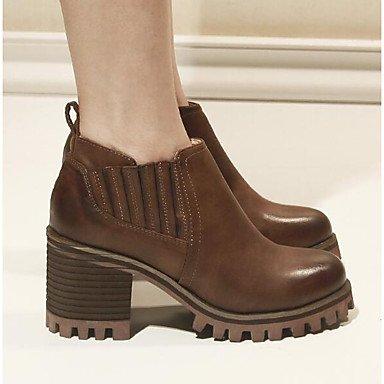 Confort Marrón Confort Tacones 2'5 brown Negro Casual Primavera ggx PU cms 4'5 Mujer LvYuan waq0gzW