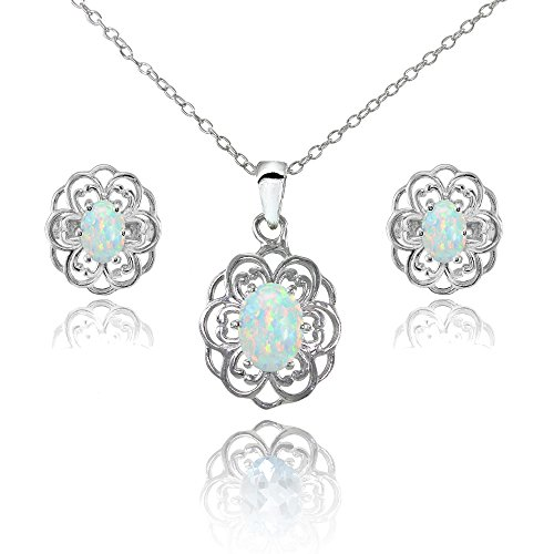 (Sterling Silver Simulated White Opal Oval Filigree Flower Pendant Necklace and Stud Earrings Set)