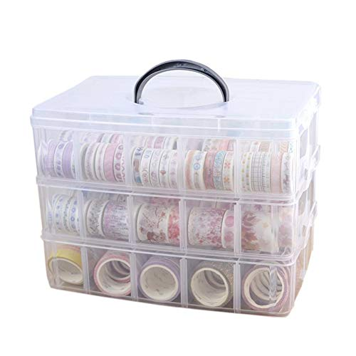 Washi Tape Holder, Washi Tape Box Organizer Craft Storage - 3 Layer Large Divider Closet Container, with 30 Adjustable Compartments, Clear