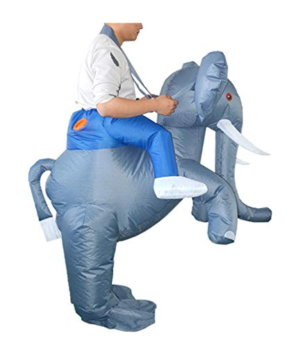 Elephant Rider Costume (Luxfan Elephant Air Inflatable Costume Onesie Cosplay Funny Outfit Jumpsuit for Adult (Color 11,)